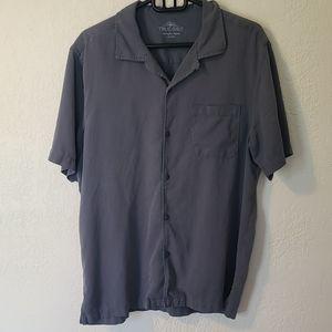True Grit Short Sleeve Button Up Blue Cabana Shirt
